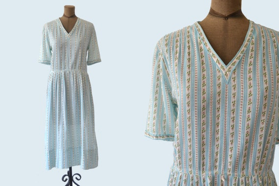 1940s Summer Dress, Cotton Floral, Pink and Blue Handmade size M