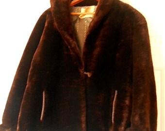 Vintage soft Faux Fur brown Jacket