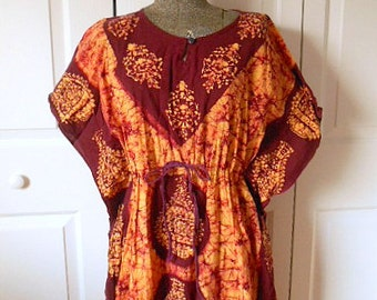 Vintage Cotton Batik bohemian Dashiki maxi Dress