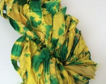 Sari silk ribbon, spray dyed, 200g, knitting ribbon, recycled yarn, craft ribbon, weaving yarn. Jewellery making. golden orange