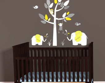 Yellow Gray Jungle Animal Decals, Elephants Wall Decal, Monkey decal, Above Crib Decal, Chevron Theme, baby nursery decals, Mini White Tree