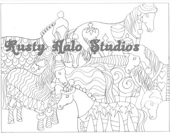 Winter ponies coloring page. cozy horses adult coloring Christmas