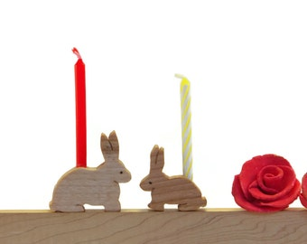 Happy Birthday Bunny Candle Holders - Celebrate! Holds standard birthday candles--made of scrap wood, with natural finish--cheers!