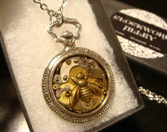 Clockwork Bee Steampunk Pocket Watch Pendant Necklace -Made with Real Watch Parts (2002)