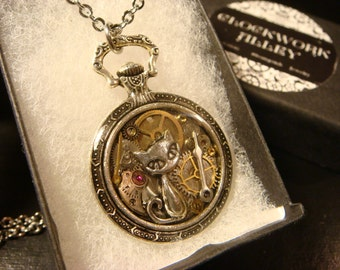 Clockwork Cat Steampunk Pocket Watch Pendant Necklace -Made with Real Watch Parts (2020)