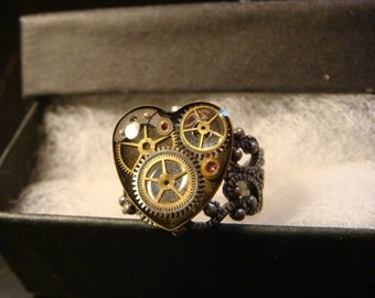 Steampunk Watch Part  Ring in Antique Silver- Made with real watch parts  (2145)