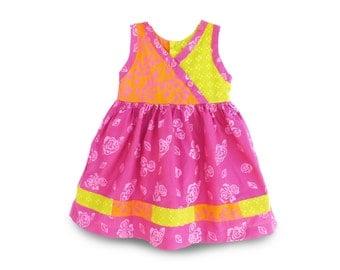 Cotton Toddler Dress, Rose Batik Cotton Dress, Birthday Gift Dress, Toddler Batik Dress, Handmade Girls Dress