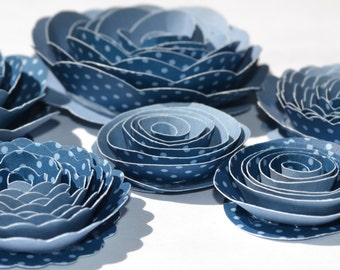 Two Tone Blue Dot Handmade Rose Spiral Paper Flowers Blue and Light Blue