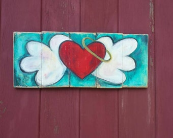 Heart with Wings/ halo/  Rustic wood Painting/ Distressed wood/ Pallet art/ flying heart