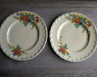 Vintage Bread and Butter Plates / Set of 2 Dessert Plates / 1940s Grindley England Art Deco China / Mix & Match China / Farmhouse Decor
