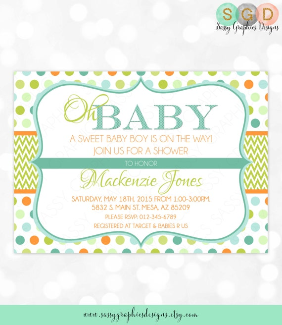 Baby boy shower invitation baby boy chevron polka dot blue green il570xn filmwisefo