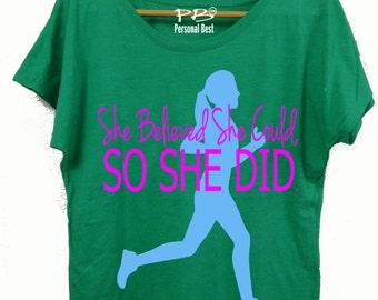 Running  slim fit shirt for women's - running shirt for women's - running shirt - She beleived she could so she did-silhouette