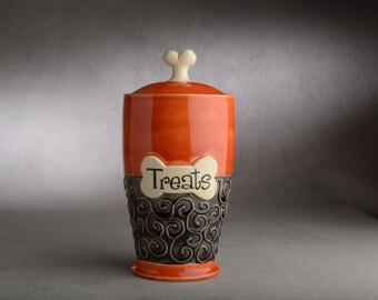 "Dog Treat Jar Ready To Ship ""Treats"" Orange and Clear Black Dog Treat Jar by Symmetrical Pottery"