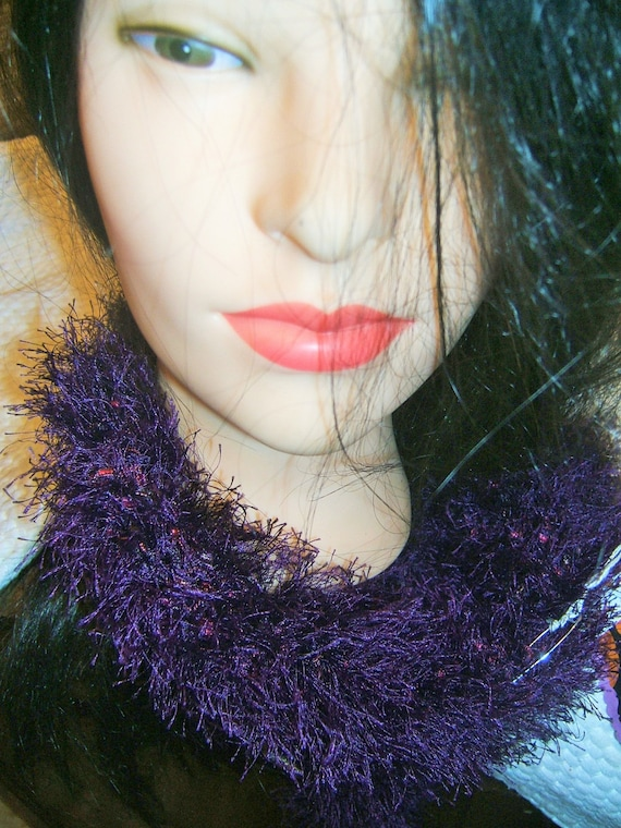 Purple Fuzzy Hand Knit Eyelash Scarf