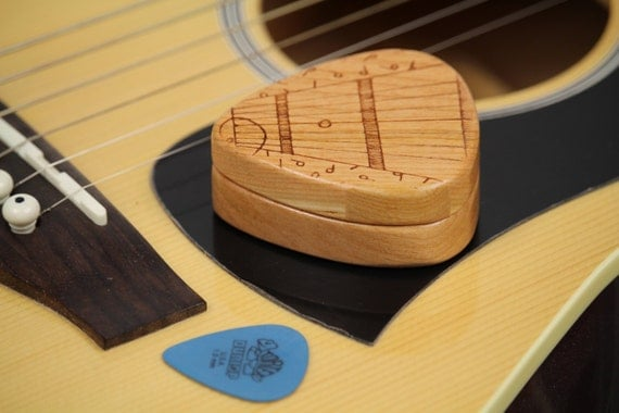 "String Notes Guitar Pick Box, 2-1/4"" x 2"" x 3/4"" d, Pattern G36 Slender, Solid Cherrywood, Laser Engraved, Paul Szewc"