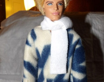 Blue & white Fleece coat and scarf for Male Fashion Dolls - kdc69