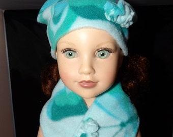Handmade lite blue Fleece with butterflies hat & neck scarf set for 18 inch dolls - ag255