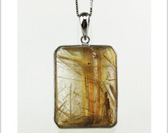 EP010401) Gold Rutilated Quartz Pendant, 925 Silver, Octagon Shape
