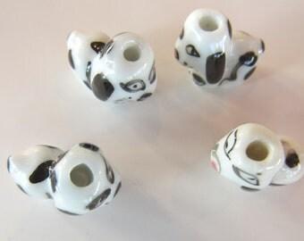 Dog Hand Painted Ceramic Beads/ 6