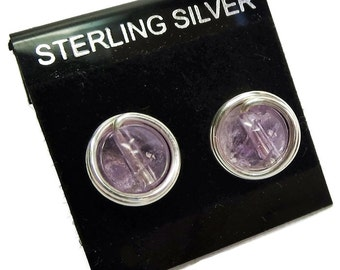 Light Amethyst and Silver Wire-Wrapped Post Earrings