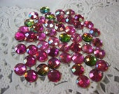 50 Flat Back Acrylic Rhinestones, Acrylic Gems in Iridescent Hot Pink for Scrapbooking Cards Mini Albums and Papercrafts Jewelry DIY