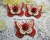 Red and Ivory Paper Butterflies, Paper Embellishments for Scrapbooking Cards Mini Albums Tags Altered Projects and Paper Crafts
