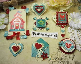 Love Velentine's Handmade Scrapbook Embellishments, Paper Embellishments for Scrapbooking Cards Mini Albums Tags and Papercrafts
