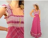 SUMMER SALE 70's Chevron Maxi Dress