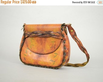 WINTER SALE 60's Braided Leather Saddle Bag