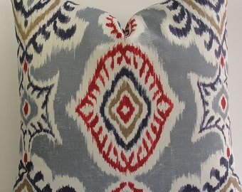 IKAT Kilim red indigo blue Decorative pillow cover gray accent throw pillow kilim pillow red gray blue designer pillow