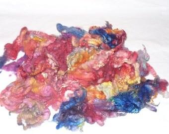 Felting Wool Fleece Locks Hand dyed Sheep Wool Fiber 4 ounces dyed fleece  #1