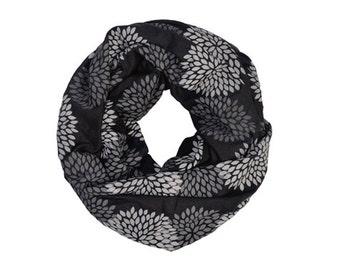INFINITY SCARF - Screen Printed - Gray Flowers on Black