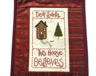 Christmas Wall Hanging, Completed Cross Stitch, Finished Cross Stitch