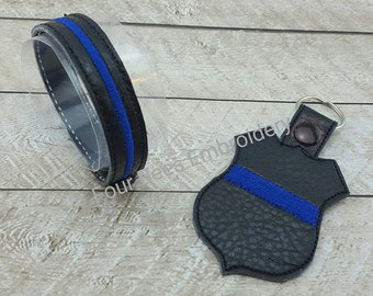 Thin Blue Line back the blue support  police badge key chain keychain  key fob bracelet  adult child sizes embroidered