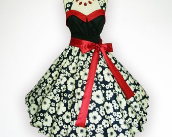 Bunny Vintage Black & White Floral 50s Pin up Rockabilly Swing Dress Full Swing Skirt