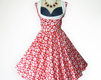 Blossom Red Adorable Daisy  50s Pin up Rockabilly Swing Dress Full Swing Skirt