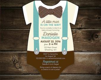 Little Man Baby Shower Invitations, Suspenders invite, creeper die cut, Bowtie, little gentleman, baby boy, printed with envelopes