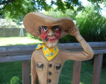 Vintage Carnival Chalkware Cowboy Statue