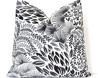 Gray & Black Floral Print Decorative Designer Pillow Cover accent throw modern boho hand block palms leaves grey charcoal white ink nature