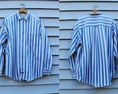 Vintage Vtg Vg 1990's 90's Grunge Arizona Jean Company Button Down Striped Two Tone Long Sleeved Shirt Men's Medium Cotton Hipster Grunge