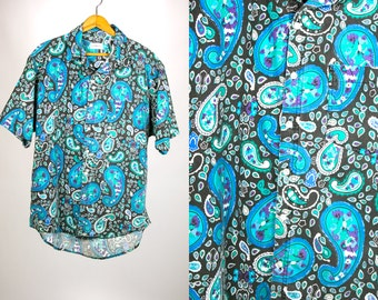 Vintage 1980's 1990's Acid Trip Sostanza Contemporary Apparel Paisley Faded Short Sleeved Button Down Oxford Men's Large Cotton
