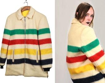 Vintage Vtg HUDSON BAY Reversible Wool Jacket Zip Up Canadian Size Medium Large Trader Blanket Coat Four Point Stripes Trapper