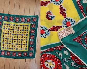 Vintage 1950's 50's 1940's 40's Pure Silk Asian Motif Neck Scarf Decorative Vibrant Colors Vase and Flowers 19-20 inches