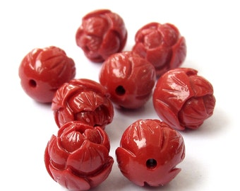 8Pieces Imitation Red Coral Flower Beads Finding 9mm*9mm  ja612