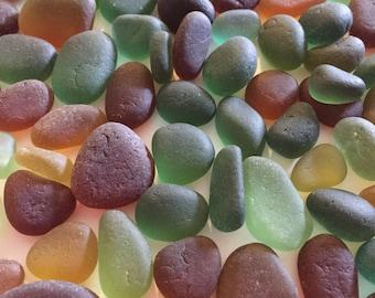 Half Pound Greens Browns Genuine English Sea Glass Jewelry Quality L61