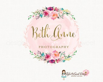 photography logo watercolor flower logo florist logo floral logo graphic design bespoke logo design  watercolour logo watermark logo