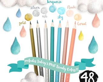 48 Piece Artist Grade High Quality Watercolor Water Soluble Colored Pencil Set with Free Sharpener and Blending Brush for Adult Coloring