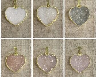 Druzy Necklace, Heart Necklace, Druzy Quartz Jewelry, Agate Druzy, Choose Your Pendant, 14K Gold Fill, Valentine's Day Jewelry