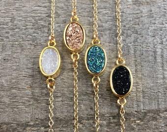 Druzy Bracelet, Rose Gold Druzy Bracelet, Drusy Bracelet, Gemstone Bracelet, Gold Bracelet, Rose Gold Bracelet, Druzy Jewelry
