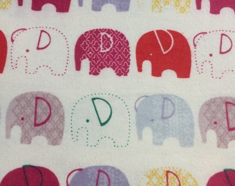 Elephants - Cotton FLANNEL Fabric BTY